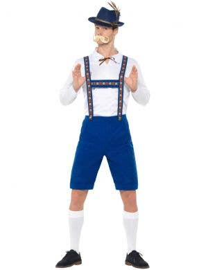 Oktoberfest Men's White and Blue Bavarian Lederhosen Fancy Dress Costume Front View 1