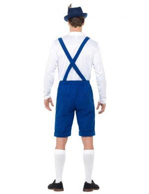 Oktoberfest Bavarian Men's Blue and White Lederhosen Costume