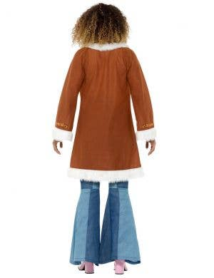 Retro 1970's Women's Brown Fur Trim Costume Coat