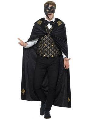Phantom Men's Deluxe Black And Gold Fancy Dress Costume