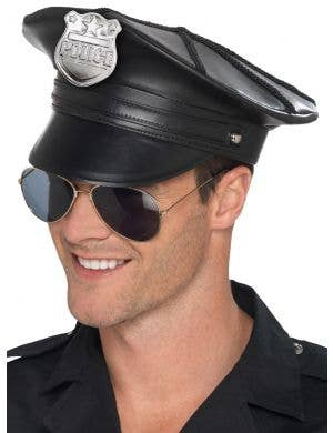 Deluxe Black Leather Look Unisex Police Costume Hat