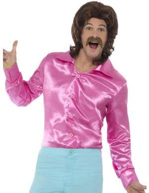 1960's Pink Satin Men's Disco Costume Shirt