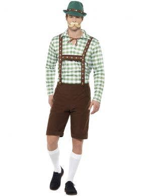 Men's Alpine Bavarian Green and Brown Lederhosen Oktoberfest Fancy Dress German Costume - Front View