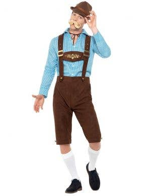 Oktoberfest Men's Blue and Brown Faux Suede Bavarian Beer Guy Lederhosen Fancy Dress Costume Front View 1