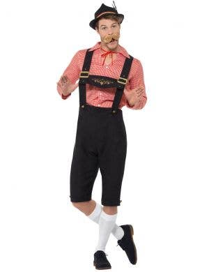 Oktoberfest Men's Red and Black Faux Suede Bavarian Beer Guy Lederhosen Fancy Dress Costume Front View 1
