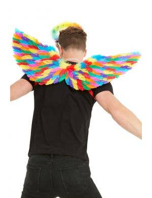 Pride Rainbow Feather Wings Costume Accessory