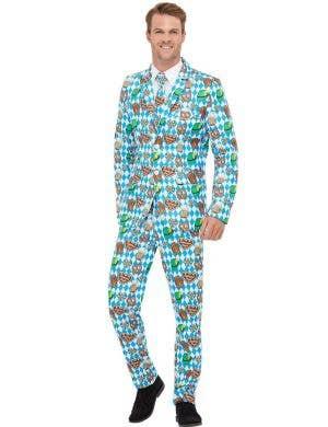 Men's Oktoberfest Print Deluxe Fancy Dress Costume Suit Front Image