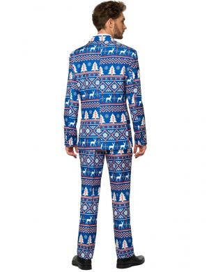 Nordic Blue Christmas Print Men's Suitmeister Costume Suit