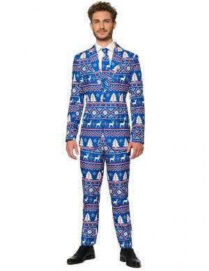 Blue Nordic Christmas Suit For Men - Front Image