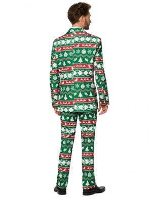 Nordic Green Christmas Print Men's Suitmeister Costume Suit