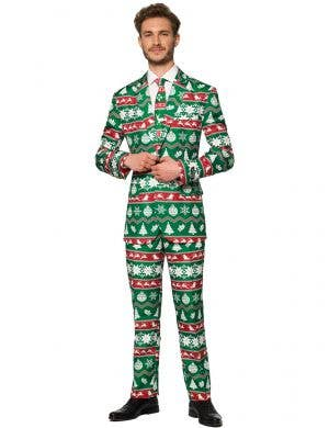 Green Nordic Christmas Suit For Men - Front Image