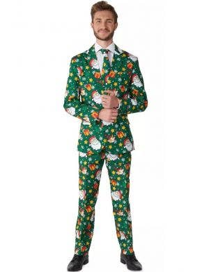 Green Santa and Elves Christmas Suit for Men - Front Image