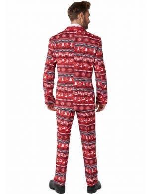 Nordic Red Pixel Christmas Print Men's Suitmeister Suit