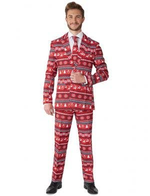 Red Nordic Pixel Print Christmas Suit for Men - Front Image