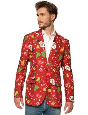 Men's Red Christmas Print Jacket With Lights - Front Image