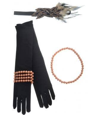 4 Piece Womens Flapper Costume Accessory Set