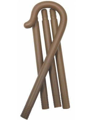 Collapsible Brown Shepherd Crook Costume Accessory