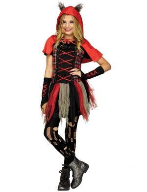 Teen Girls Hooded Red Wolf Costume