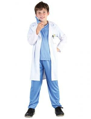 Blue Scrubs and Doctor Coat Costume for Kids
