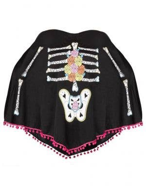 Women's Day of the Dead Skeleton Print Costume Poncho