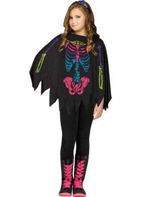 Girl's Rainbow Skeleton Print Costume Poncho