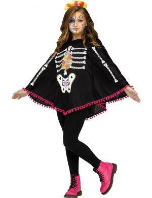 Girl's Day of the Dead Skeleton Print Costume Poncho