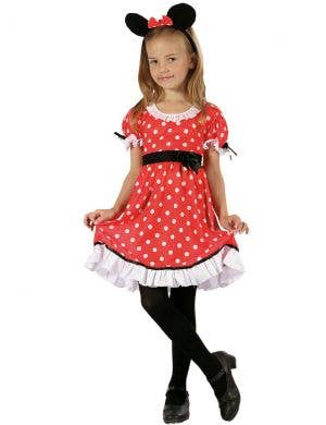 Girls Minnie Mouse inspired red and white polka dot dress fancy dress costume main image