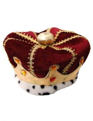 Plush Royal Red Men's King Costume Crown