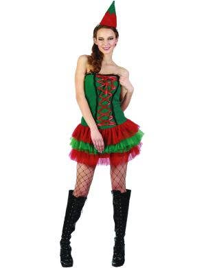 Red and Green Christmas Elf Tutu Dress For Women Main Image
