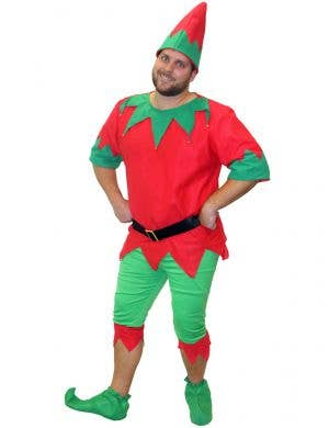 Red and Green Aussie Elf Costume for Men