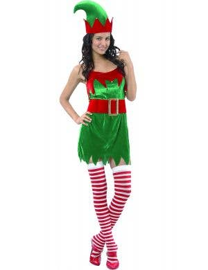Womens Red and Green Xmas Elf Costume