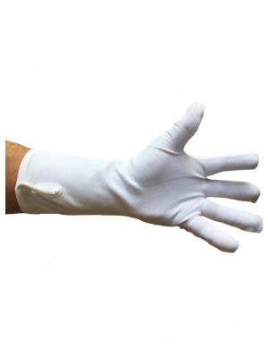 Wrist Length Men's White Costume Gloves with Button