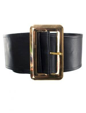 Black Santa Claus Belt with Gold Buckle