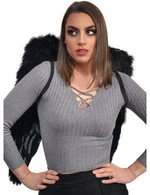 Large Deluxe Dark Angel Black Feather Costume Wings