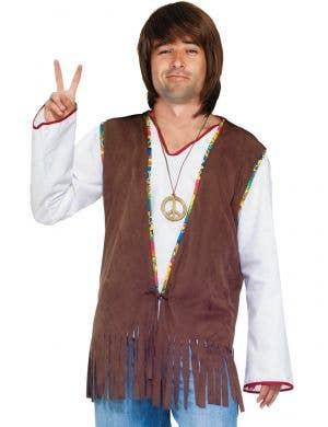 Mens Brown Fringed Hippie Costume Vest