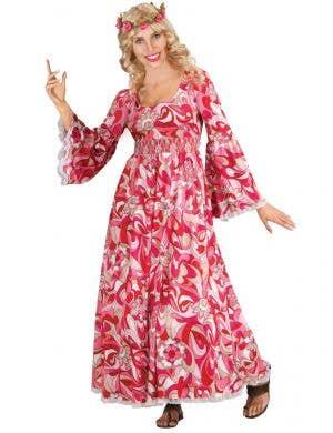 Pink Flower Power Womens 70s Hippie Costume