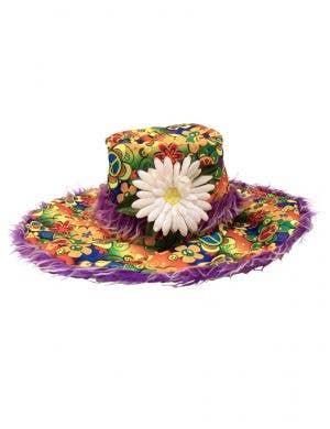 Rainbow Flower Hippie Hat with Fur Trim