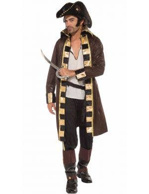 Swashbuckling Men's Brown and Gold Pirate Captain Costume