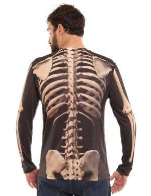 Faux Real Skeleton Print Men's Halloween Costume Shirt
