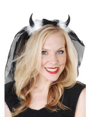 Black Devil Horns with Black Veil Costume Accessory