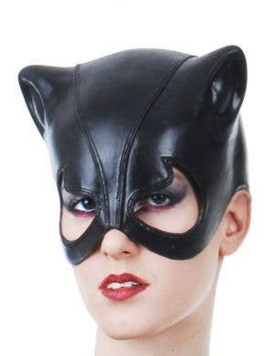 Half Face Catwoman Latex Costume Mask
