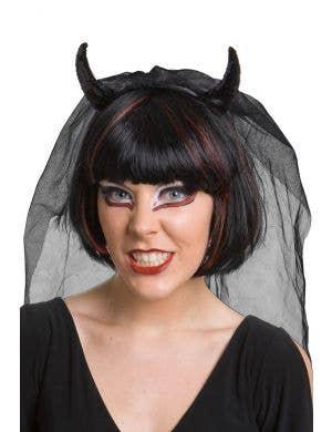 Black Sequinned Devil Horns with Mesh Net Veil