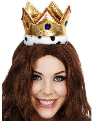 Mini Gold Plush Crown with Jewels Costume Accessory