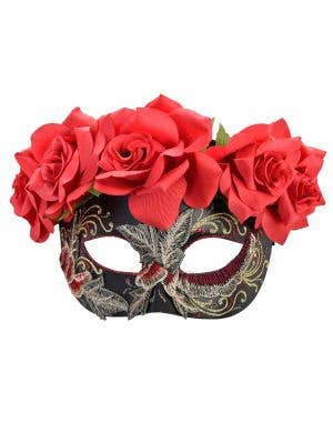 Women's Black Masquerade Mask with Flowers and Embroidery