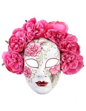 Deluxe Full Face White Masquerade Mask with Pink Flowers