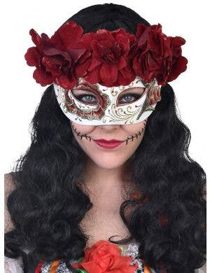 Women's White Masquerade Mask with Deep Red Roses