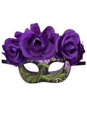 Women's Black Masquerade Mask with Purple Flowers