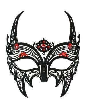 Black Lace Filigree Devil Horn Masquerade Mask Main Image