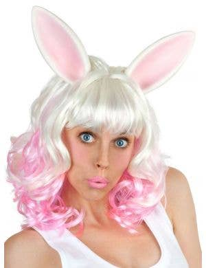 Miss Bunny Women's Pink and White Costume Wig