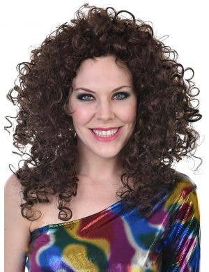 1970's Disco Women's Brown Curly Costume Wig